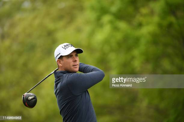 Luke List of the United States plays his shot from the tenth tee during the second round of the 2019 PGA Championship at the Bethpage Black course on...