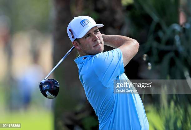 Luke List of the United States plays his tee shot on the par 4 second hole during the final round of the 2018 Honda Classic on The Champions Course...