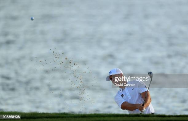 Luke List of the United States plays his third shot on the par 5 18th hole during the third round of the 2018 Honda Classic on The Champions Course...