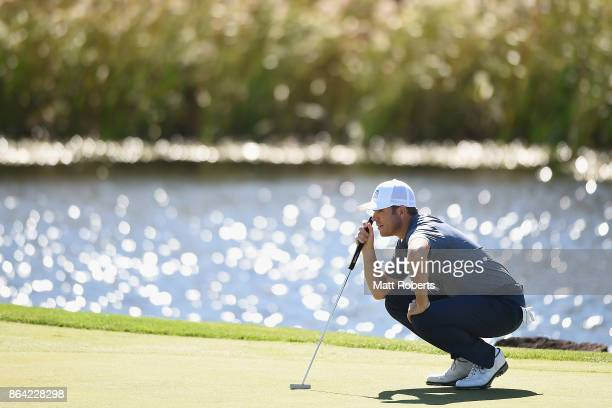 Luke List of the United States prepares to putt on the 5th green during the third round of the CJ Cup at Nine Bridges on October 21 2017 in Jeju...