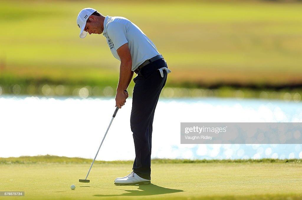 Luke List of the United States putts for birdie on the 18th green during the third round of the RBC Canadian Open at Glen Abbey Golf Club on July 23, 2016 in Oakville, Canada.