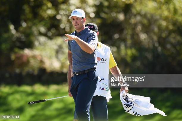 Luke List of the United States reacts after his putt on the 6th green during the third round of the CJ Cup at Nine Bridges on October 21 2017 in Jeju...