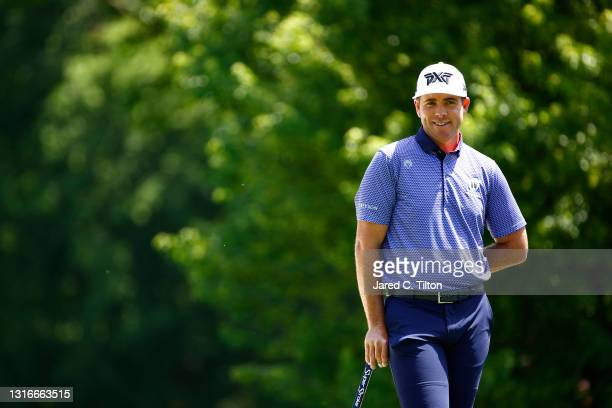 Luke List of the United States smiles on the 11th green during the first round of the 2021 Wells Fargo Championship at Quail Hollow Club on May 06,...
