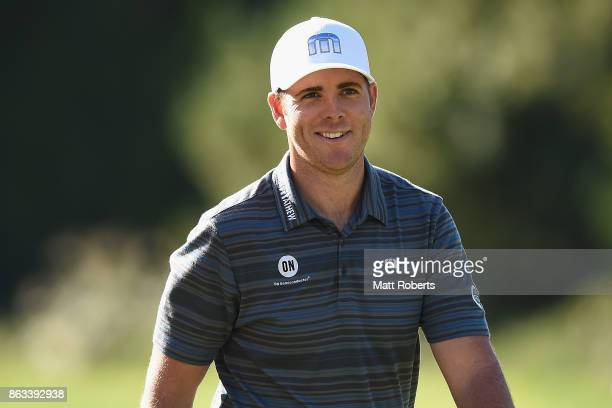 Luke List of the United States smiles on the 9th green during the second round of the CJ Cup at Nine Bridges on October 20 2017 in Jeju South Korea