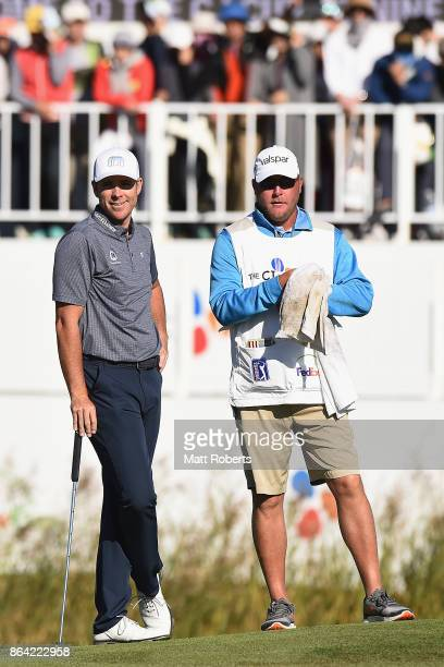 Luke List of the United States smiles prior to his putt on the 18th green during the third round of the CJ Cup at Nine Bridges on October 21 2017 in...