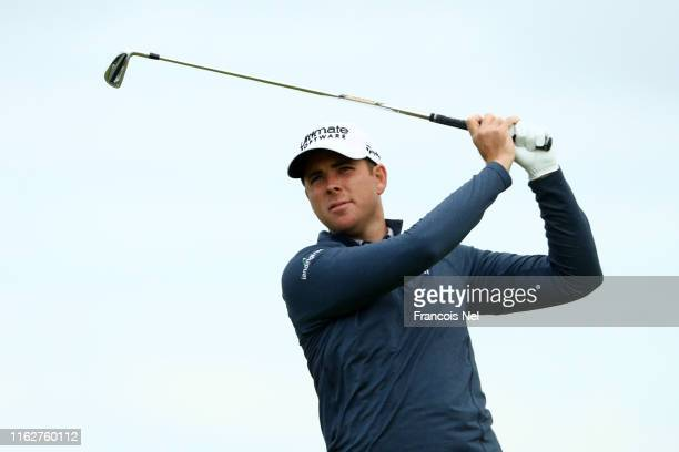 Luke List of the United States tees off the 6th during the first round of the 148th Open Championship held on the Dunluce Links at Royal Portrush...