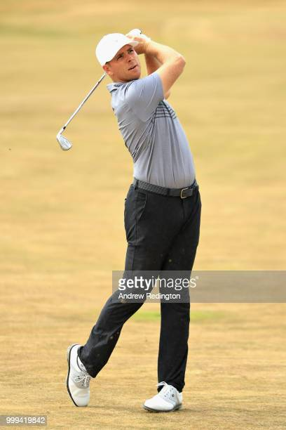 Luke List of USA takes his second shot on hole four during day four of the Aberdeen Standard Investments Scottish Open at Gullane Golf Course on July...