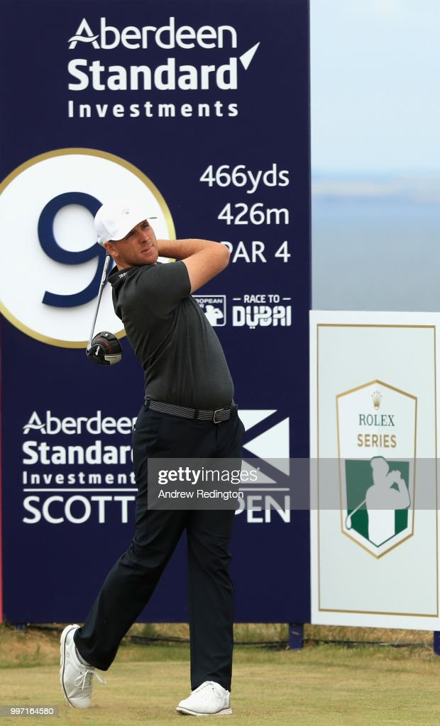 Luke List of USA takes his tee shot on hole nine during day one of the Aberdeen Standard Investments Scottish Open at Gullane Golf Course on July 12, 2018 in Gullane, Scotland.