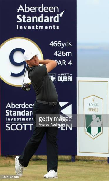 Luke List of USA takes his tee shot on hole nine during day one of the Aberdeen Standard Investments Scottish Open at Gullane Golf Course on July 12,...