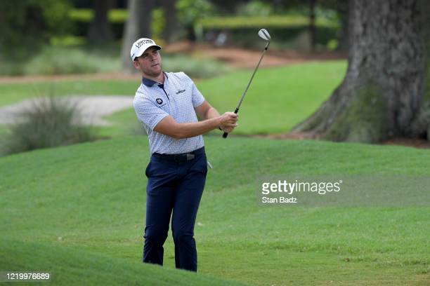 Luke List plays a chip shot on the eighth hole during the final round at the Korn Ferry Tour's Korn Ferry Challenge at TPC Sawgrass at Dyes Valley...
