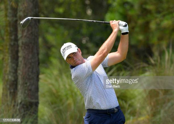 Luke List plays a tee shot on the eighth hole during the final round at the Korn Ferry Tour's Korn Ferry Challenge at TPC Sawgrass at Dyes Valley...