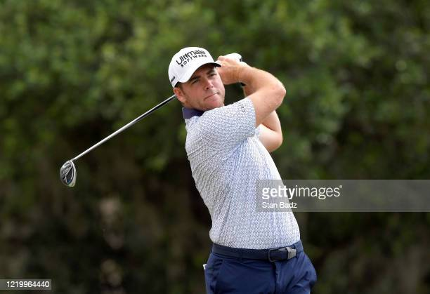 Luke List plays a tee shot on the first hole during the final round at the Korn Ferry Tour's Korn Ferry Challenge at TPC Sawgrass at Dyes Valley...