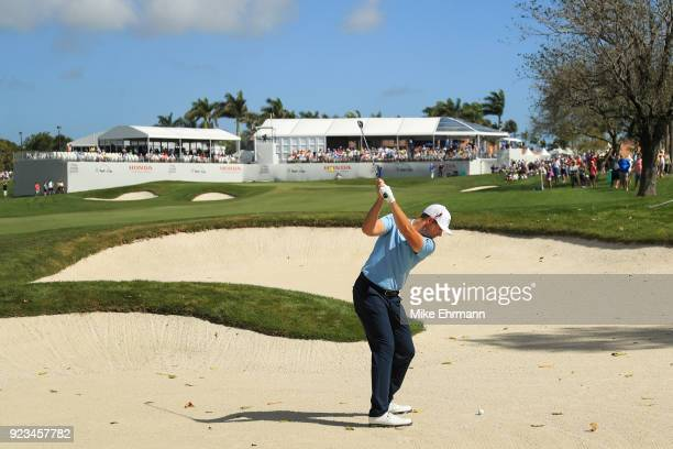 Luke List plays his approach shot on the eighth green during the second round of the Honda Classic at PGA National Resort and Spa on February 23 2018...