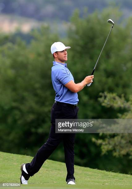 Luke List plays his second shot on the 18th hole during the first round of the Valero Texas Open at TPC San Antonio ATT Oaks Course on April 20 2017...