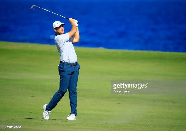 Luke List plays his second shot on the eighth hole during the third round of the Corales Puntacana Resort & Club Championship on September 26, 2020...