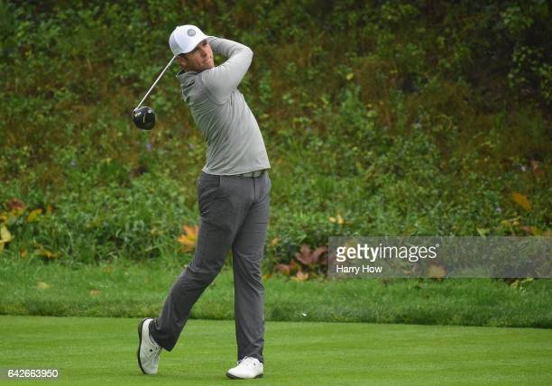 Luke List plays his shot from the 13th tee during a continuation of the second round at the Genesis Open at Riviera Country Club on February 18 2017...