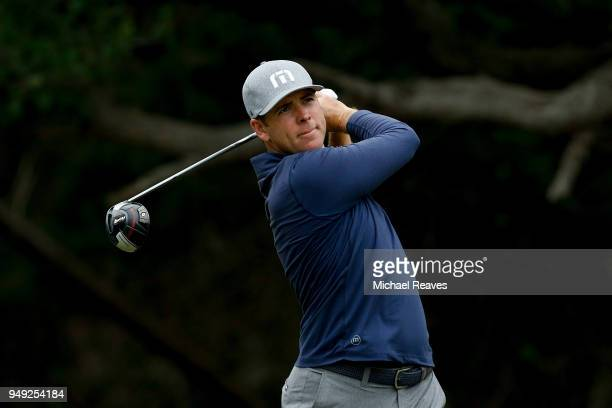 Luke List plays his shot from the 14th tee during the second round of the Valero Texas Open at TPC San Antonio ATT Oaks Course on April 19 2018 in...
