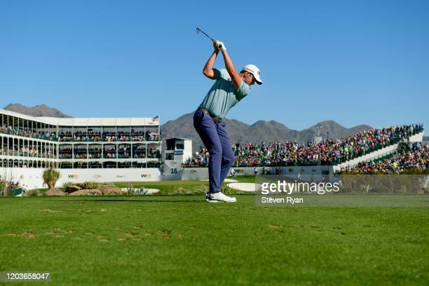 Luke List plays his shot from the 16th tee during the final round of the Waste Management Phoenix Open at TPC Scottsdale on February 02, 2020 in...