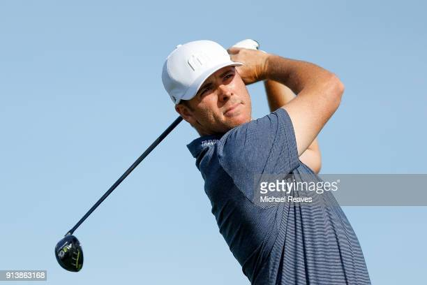 Luke List plays his shot from the fifth tee during the third round of the Farmers Insurance Open at Torrey Pines South on January 27 2018 in San...
