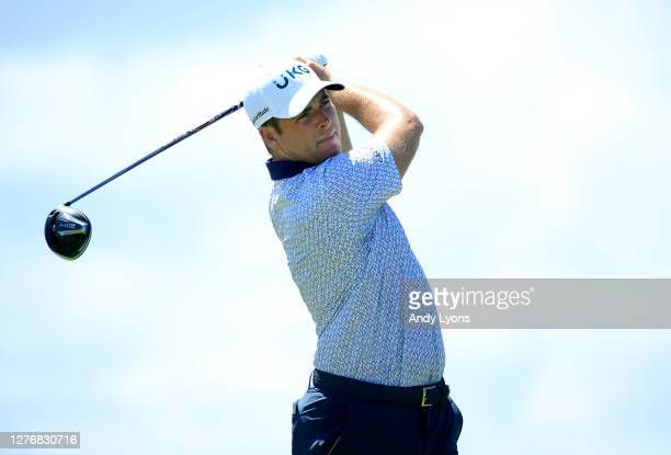 Luke List plays his shot from the first tee during the third round of the Corales Puntacana Resort & Club Championship on September 26, 2020 in Punta...