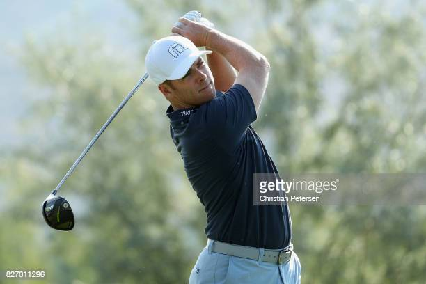 Luke List plays his shot from the second tee during the final round of the Barracuda Championship at Montreux Country Club on August 6 2017 in Reno...