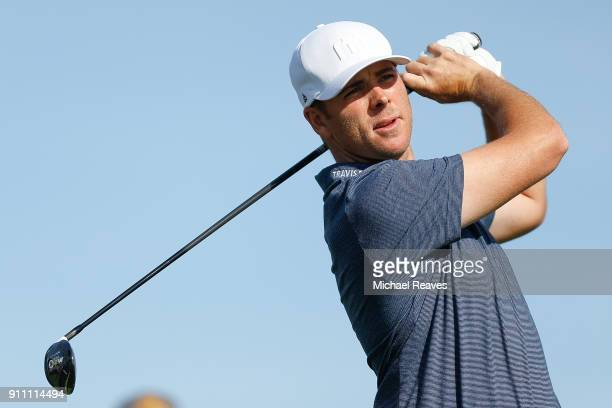 Luke List plays his shot from the second tee during the third round of the Farmers Insurance Open at Torrey Pines South on January 27 2018 in San...