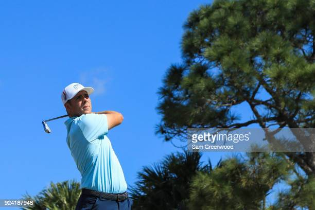 Luke List plays his tee shot at the fourth hole during the final round of the Honda Classic at PGA National Resort and Spa on February 25 2018 in...
