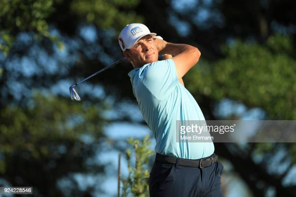Luke List plays his tee shot on the 14th hole during the final round of the Honda Classic at PGA National Resort and Spa on February 25 2018 in Palm...