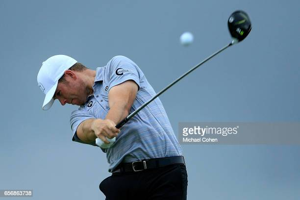 Luke List plays his tee shot on the ninth hole during the first round of the Puerto Rico Open at Coco Beach on March 23 2017 in Rio Grande Puerto Rico