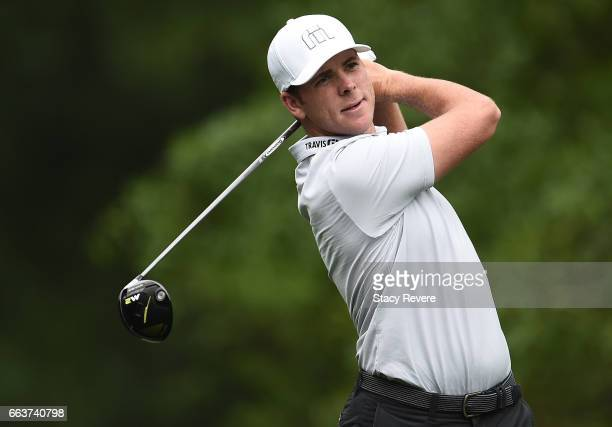 Luke List plays his tee shot on the second hole during the final round of the Shell Houston Open at the Golf Club of Houston on April 2 2017 in...
