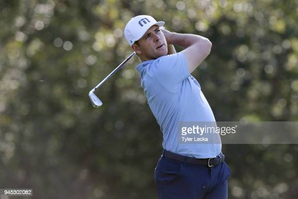Luke List plays his tee shot on the seventh hole during the first round of the 2018 RBC Heritage at Harbour Town Golf Links on April 12 2018 in...