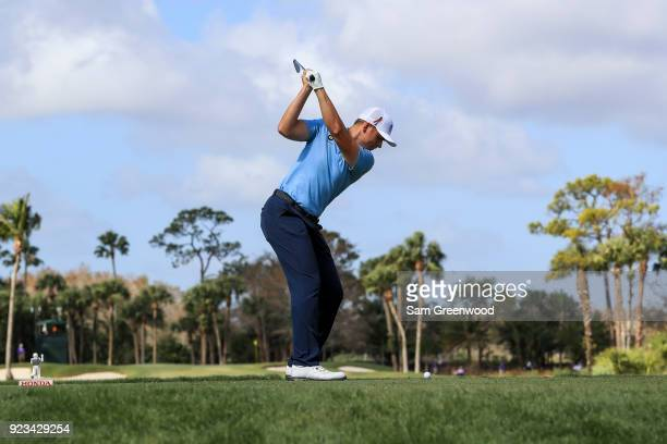 Luke List plays his tee shot on the seventh hole during the second round of the Honda Classic at PGA National Resort and Spa on February 23 2018 in...
