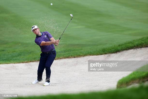 Luke List plays his third shot on the ninth hole during the third round of the John Deere Classic at TPC Deere Run on July 10, 2021 in Silvis,...