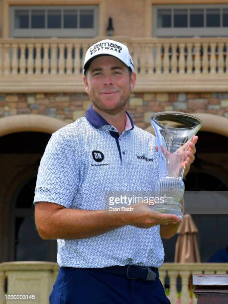Luke List poses with the winners trophy after winning the Korn Ferry Tour's Korn Ferry Challenge at TPC Sawgrass at Dyes Valley Course on June 14,...