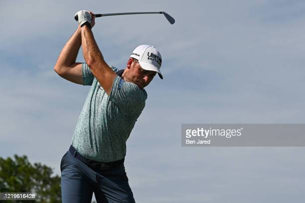 Luke List swings over his ball on the 13th tee box during the second round at the Korn Ferry Tour's Korn Ferry Challenge at TPC Sawgrass at Dyes...
