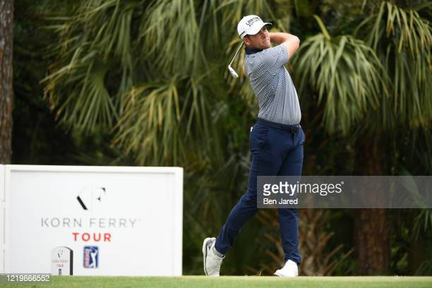 Luke List tees off on the 18th tee during the third round at the Korn Ferry Tour's Korn Ferry Challenge at TPC Sawgrass at Dyes Valley Course on June...