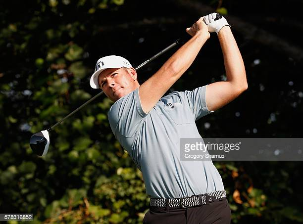 Luke List watches his drive on the 16th hole during the first round of the RBC Canadian Open at Glen Abbey Golf Club on July 21 2016 in Oakville...