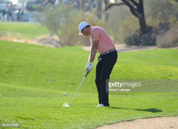 Luke List watches his second shot on the first hole during the final round of the Waste Management Phoenix Open at TPC Scottsdale on February 4 2018...