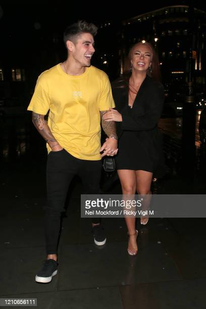 Luke Mabbott and Demi Jones seen on a night out at STK restaurant on March 05 2020 in London England