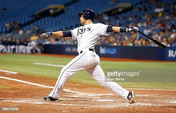 Luke Maile of the Tampa Bay Rays strikes out swinging to pitcher Ervin Santana of the Minnesota Twins during the fifth inning of a game on August 5...