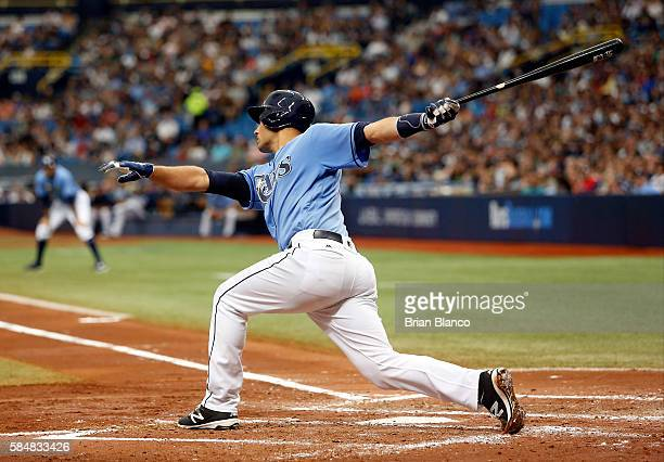 Luke Maile of the Tampa Bay Rays strikes out swinging with the bases loaded to end the second inning of a game against the New York Yankees on July...