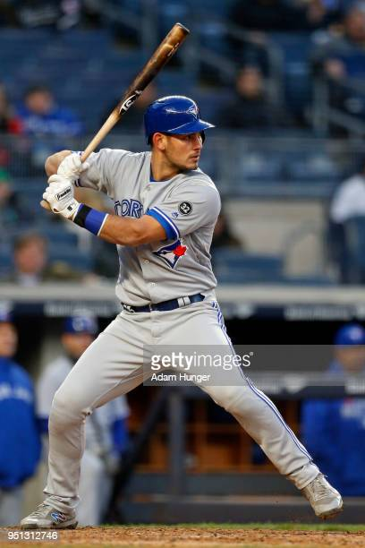 Luke Maile of the Toronto Blue Jays at bat against the New York Yankees during the third inning at Yankee Stadium on April 19 2018 in the Bronx...