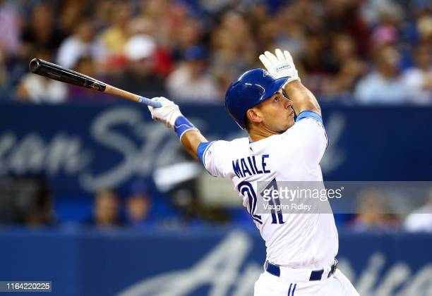 Luke Maile of the Toronto Blue Jays grounds out in the third inning during a MLB game against the Cleveland Indians at Rogers Centre on July 23 2019...