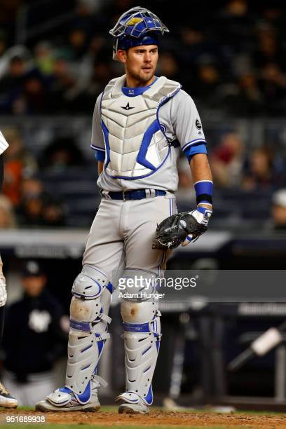 Luke Maile of the Toronto Blue Jays looks on against the New York Yankees during the sixth inning at Yankee Stadium on April 19 2018 in the Bronx...