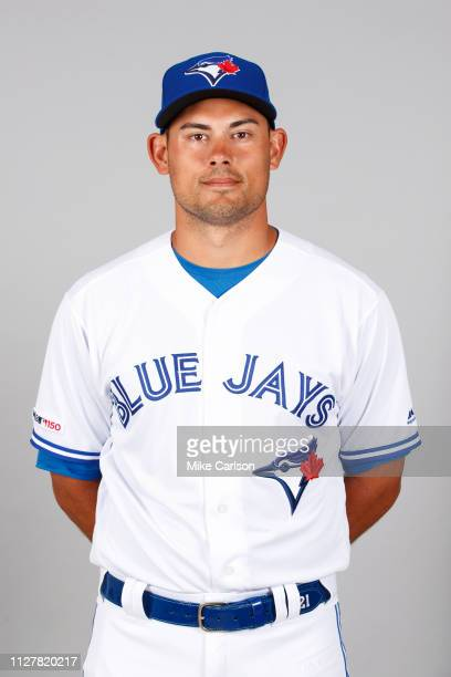 Luke Maile of the Toronto Blue Jays poses during Photo Day on Friday February 22 2019 at Dunedin Stadium in Dunedin Florida