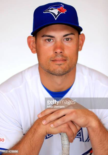 Luke Maile of the Toronto Blue Jays poses for a portrait during photo day at Dunedin Stadium on February 22 2019 in Dunedin Florida