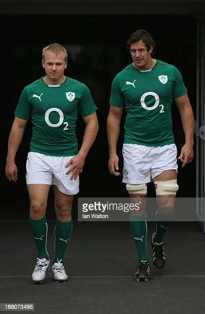 Luke Marshall and Mike McCarthy of Ireland during Ireland's captain's run at Aviva Stadium on November 15 2013 in Dublin Ireland