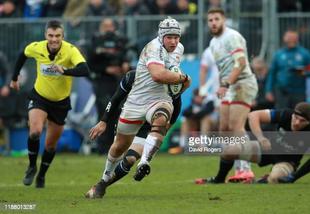 Luke Marshall of Ulster breaks with the ball during the Heineken Champions Cup Round 1 match between Bath Rugby and Ulster Rugby at the Recreation...