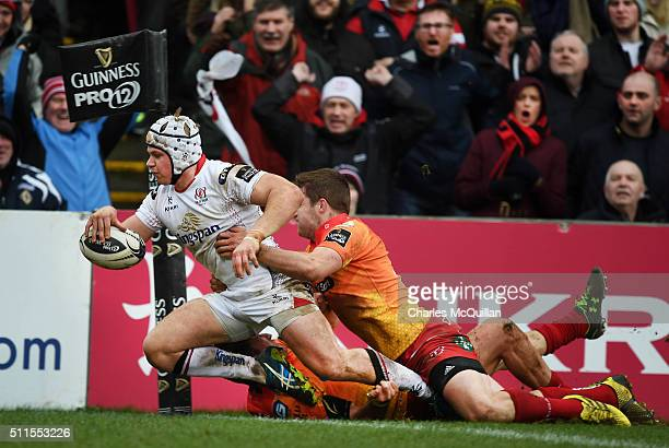 Luke Marshall of Ulster scores a try during the Guinness PRO12 game between Ulster and Scarlets at Kingspan Stadium on February 21 2016 in Belfast...