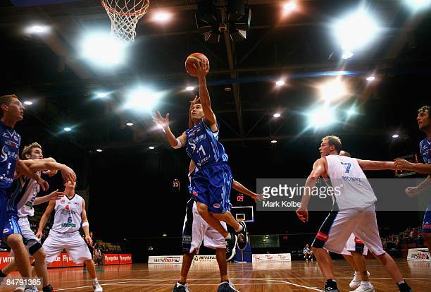 Luke Martin of the Spirit drives to the basket during the round 22 NBL match between the Sydney Spirit and the New Zealand Breakers at the Sydney...